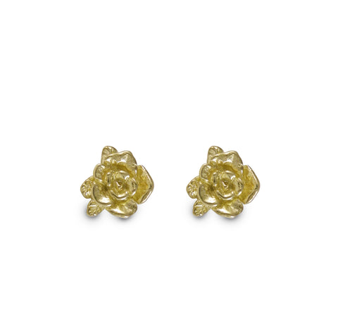 Gold Mini Rose Earrings