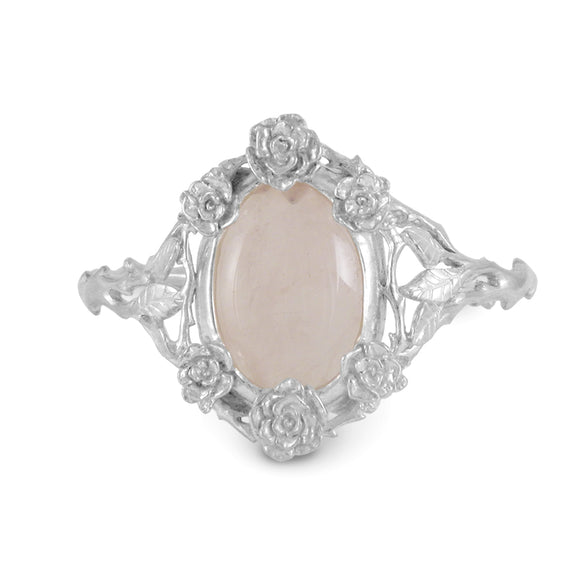 Mini Rose Cuff Bracelet with Rose Quartz