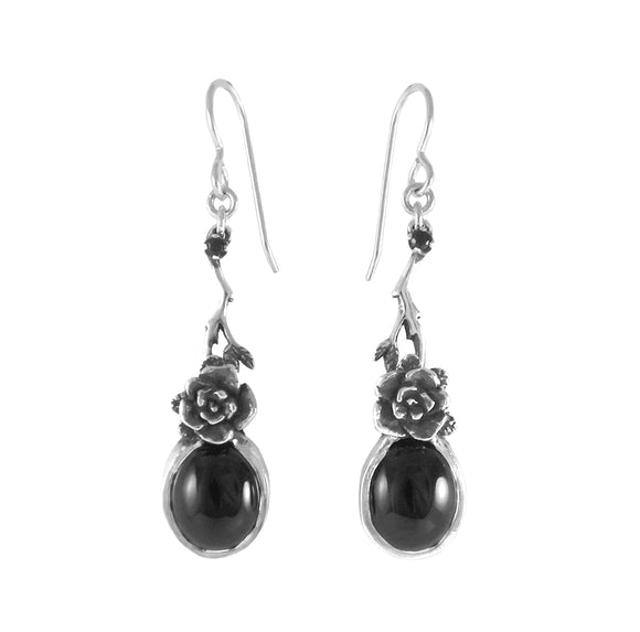 Mini Rose Earrings with Onyx Stone