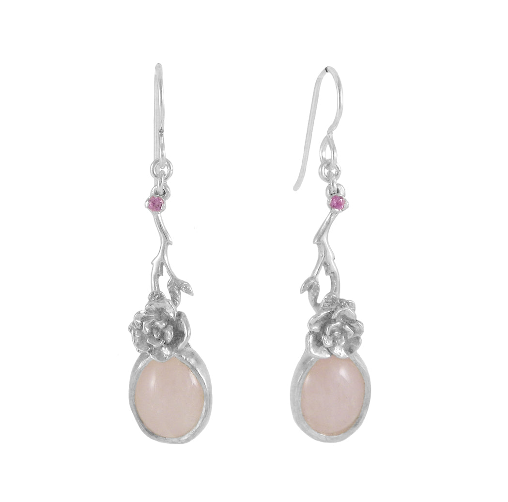 Mini Rose Earrings with Rose Quartz