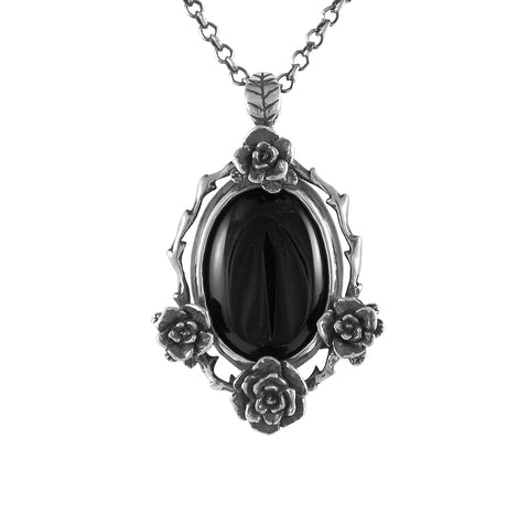 Mini Rose Pendant with Onyx Stone