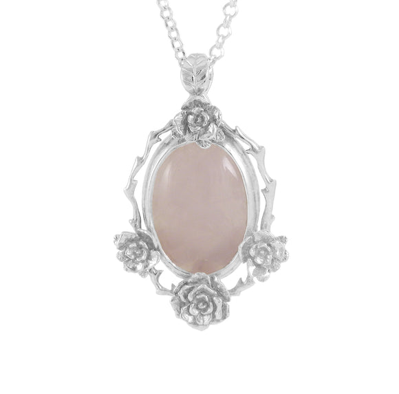 Mini Rose Pendant with Rose Quartz