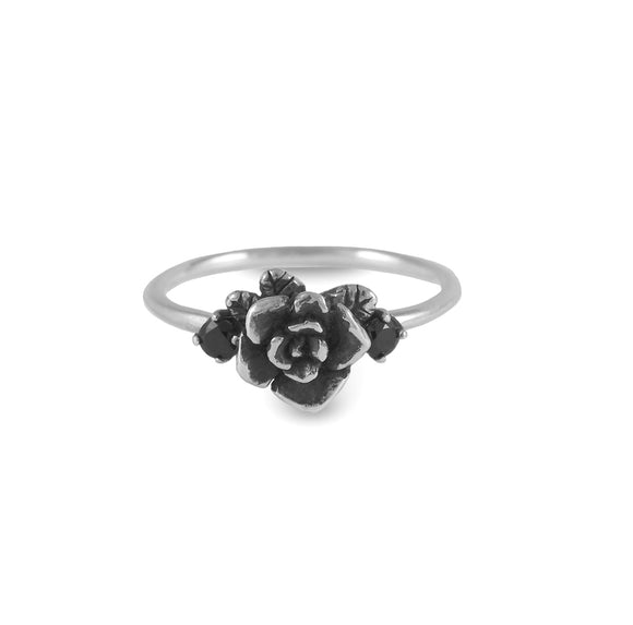 Mini Rose Ring Oxidized with Gemstones