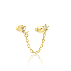 Star & Moon Pavé Chain Stud