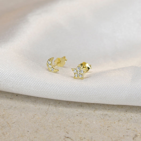 Mini Star & Moon Pavé Studs