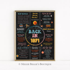 Printable 50th Birthday Flashback Sign | Back in 1971