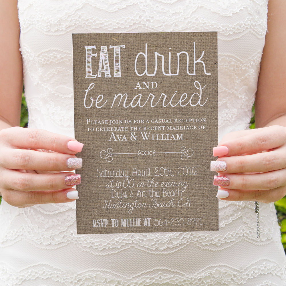 "Printed Rustic Elopement Reception Invitations - ""Eat, Drink, Be Married"""