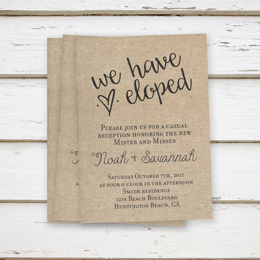 Printed Rustic Burlap Elopement Reception Invitations | We Have Eloped