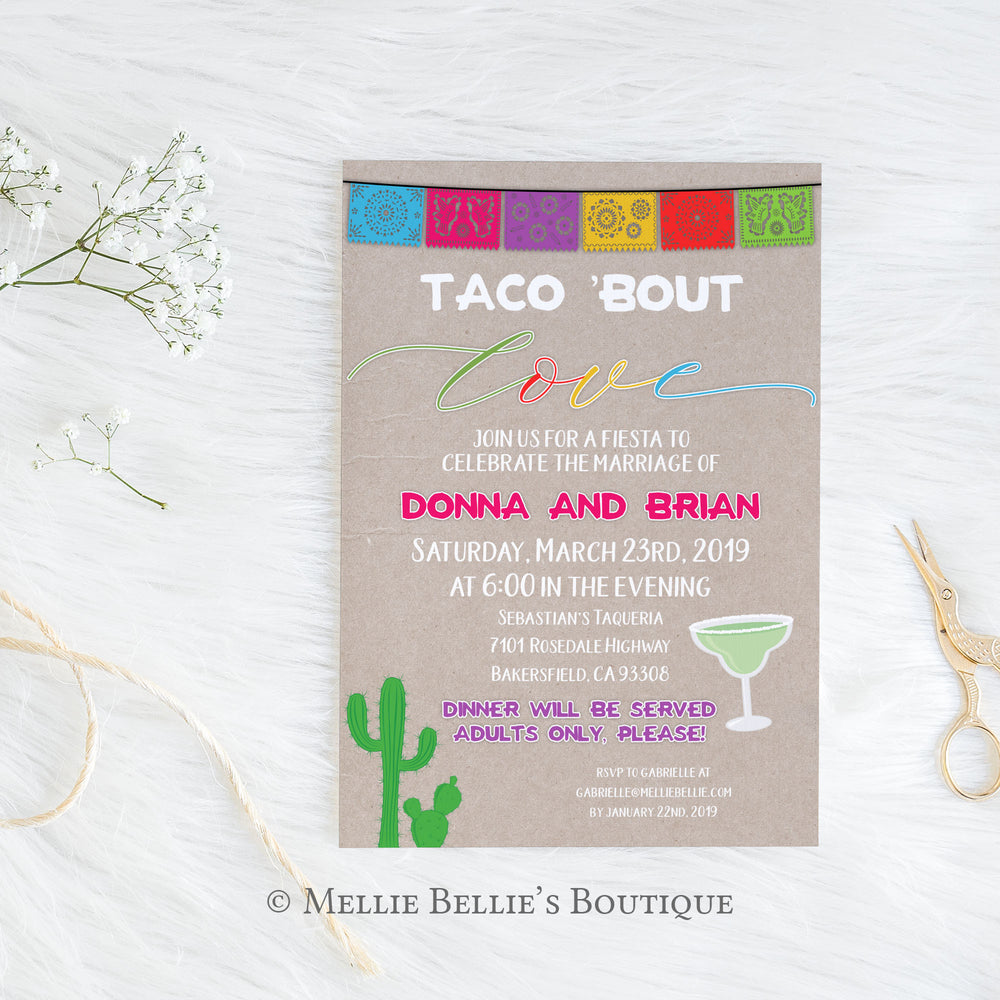 "Printable Fiesta Themed Reception Invitation - ""Taco Bout Love"""
