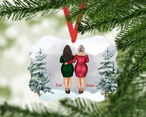 Personalized Best Friends Portrait Ornament | Gift for Besties | BFF | Best Friends Christmas Gift