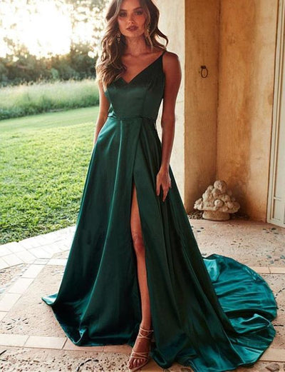 A-Line V-Neck Sleeveless Simple Long Satin Prom Dress With Split Front