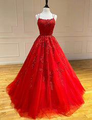 Hot Red Prom Dresses with Appliques Long Formal Evening Dress