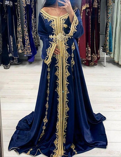 Womens Elegant Royal Blue Embroidered Evening Kaftan Dress