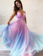 A-line V-neck Pink Prom Dresses Long Formal Gown