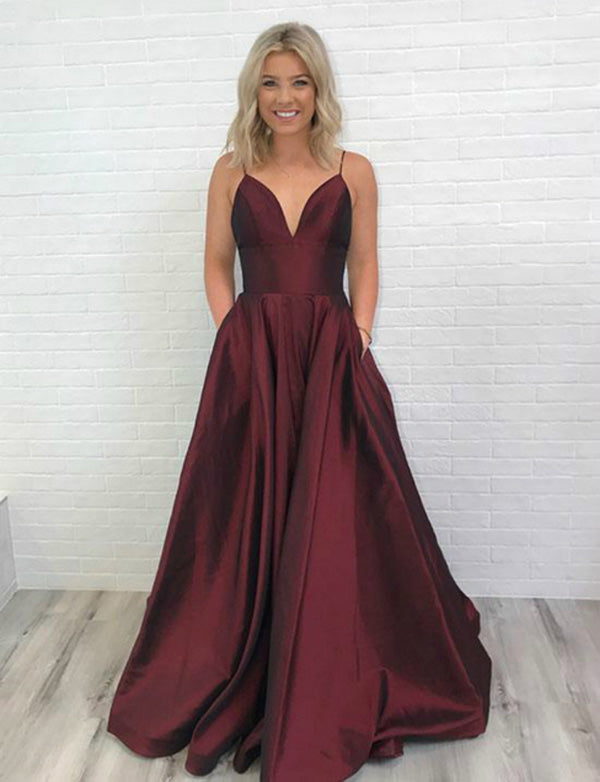 Gorgeous A Line Spaghetti Straps Burgundy Long Prom Evening Dress