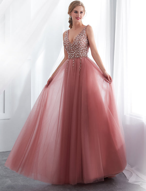 Pink Long A-line V-Neck Tulle Prom Dresses With Beading