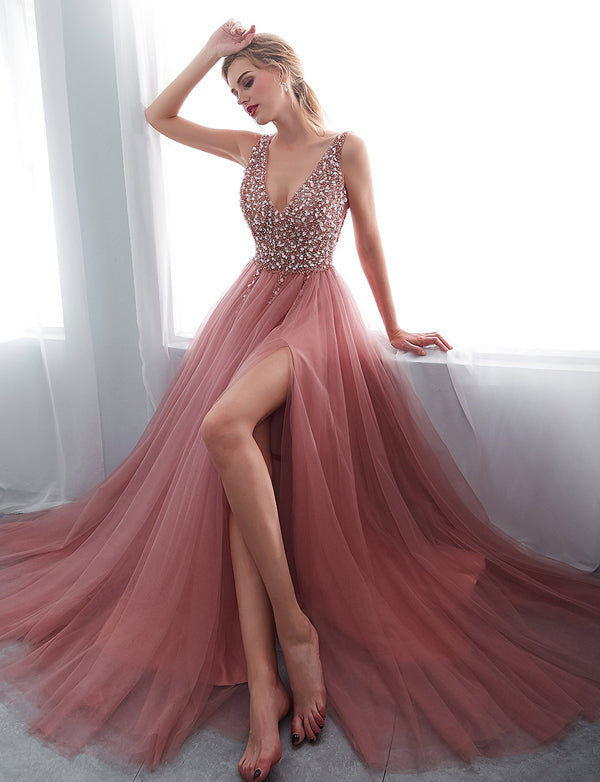 Pink Long Prom Dresses V Neck Beading Evening Party Dresses
