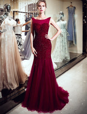 Luxurious Mermaid Bateau Sleeveless Burgundy Long Prom Evening Dress with Beading