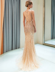 Luxurious Mermaid V Neck Sleeveless Golden Long Prom Dress with Beading