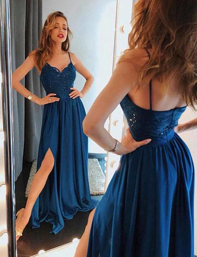 Gorgeous A Line Spaghetti Straps Navy Blue Long Prom Dress with Lace