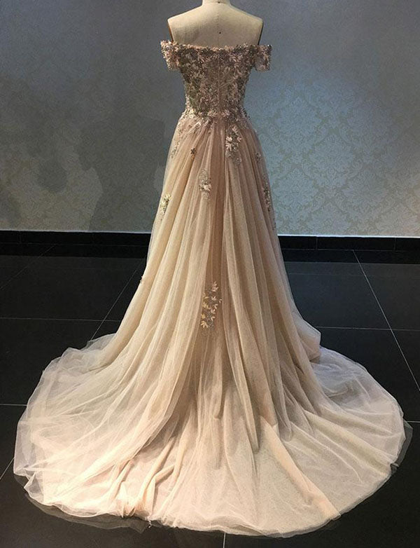 Luxurious A Line Off The Shoulder Champagne Long Prom Dress with Appliques