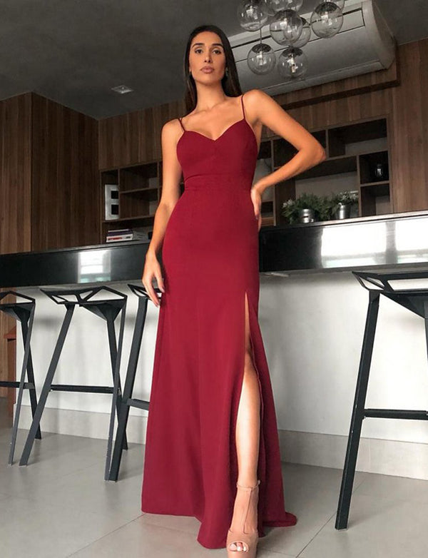 Sexy Mermaid Spaghetti Straps Burgundy Satin Long Prom Dress with Split