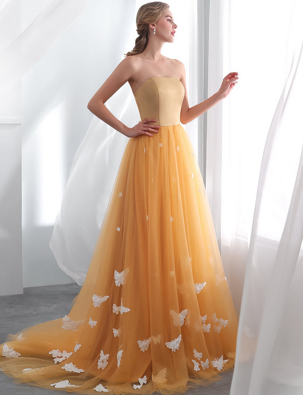 Orange Long Prom Dresses with Appliques Evening Dresses Strapless