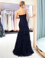 Long Mermaid Prom Dresses Sweetheart Dark Navy Evening Dress