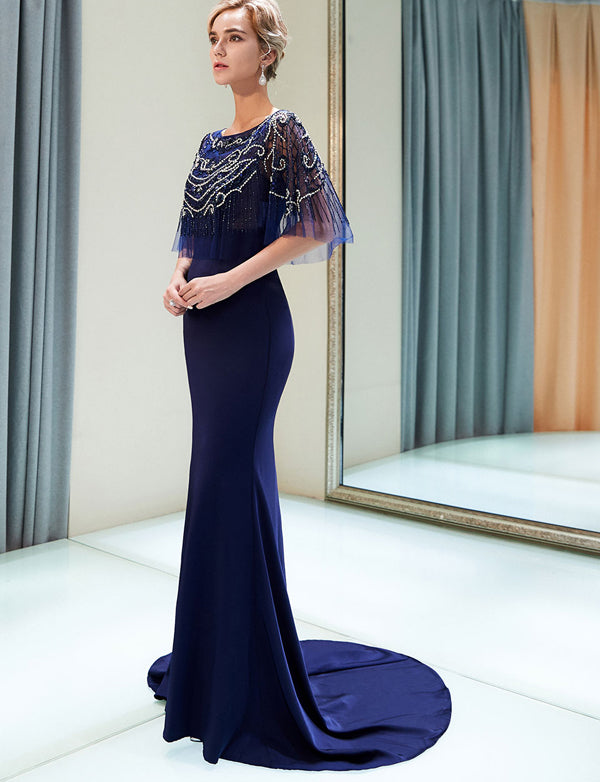 Mermaid Bateau Short Sleeves Navy Blue Prom Evening Dress with Beading