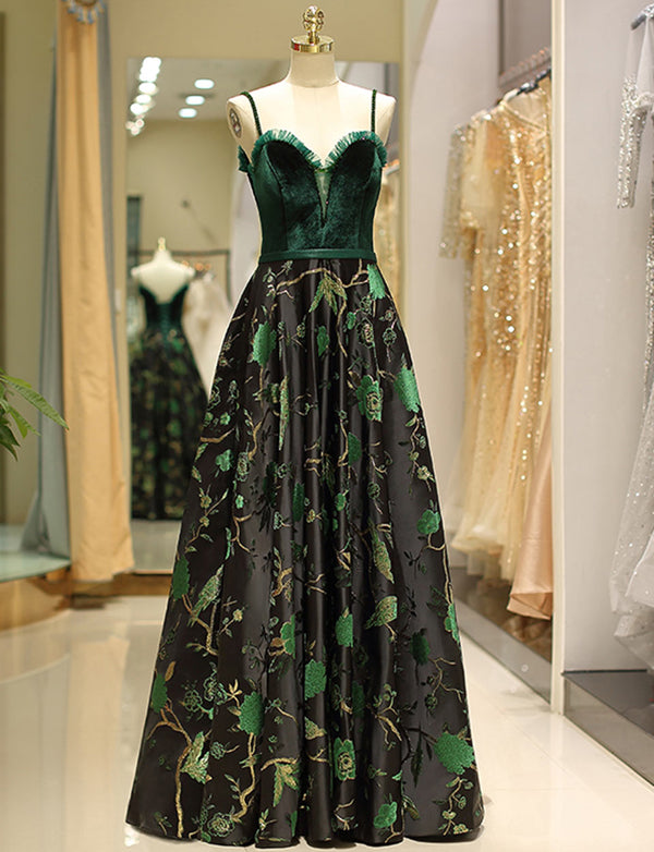 Gorgeous A Line Spaghetti Straps Floral Print Long Prom Evening Dress