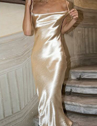 Charming Sheath Spaghetti Straps Backless Tea Length Champagne Prom Dress