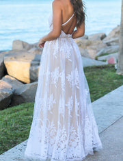 V Neck White Prom Dresses with Appliques Long Formal Gowns