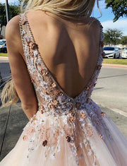 Pink Prom Dresses V Neck Long Backless Evening Gowns with Appliques