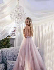 Hot Blush Prom Dress Backless Long Evening Gowns