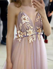 Hot Spaghetti Straps Pink Prom Dress Backless Appliques Long Evening Gowns