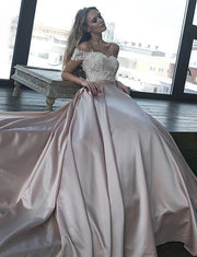 Off the Shoulder Blush Satin Prom Dresses Long Evening Gowns with Lace