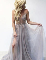 Spaghetti Straps Grey Long Prom Dresses Appliques Formal Dresses Split