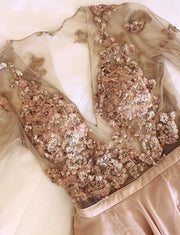 Champagne Long Prom Dresses with Sleeves Sequins Split Evening Dresses