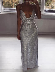 Silver Sequin Prom Dresses Split Sheath Sexy Evening Gowns