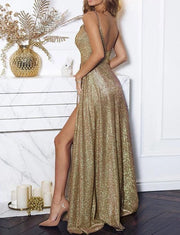 Spaghetti Straps Champagne Prom Dresses Sequin Evening Gowns