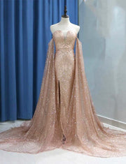 Champagne Prom Dress with Sleeves Sequin Formal Gowns Off the Shoulder