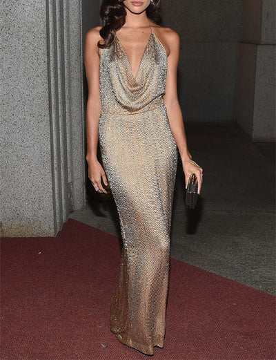 Sexy Champagne Sequin Prom Dresses Long Backless Evening Gowns