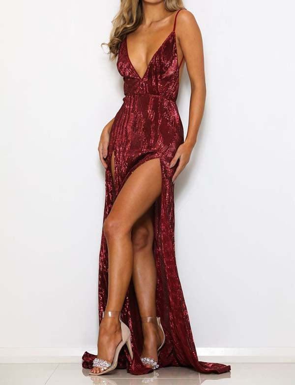 Burgundy Sequin Prom Dresses Long Backless Mermaid Evening Gowns Split