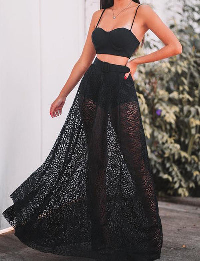 Two Piece Prom Dresses Long Lace Spaghetti Straps Black Party Dresses