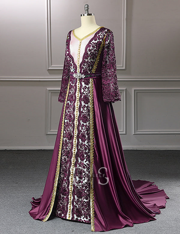 Purple Moroccan Caftan With Lace