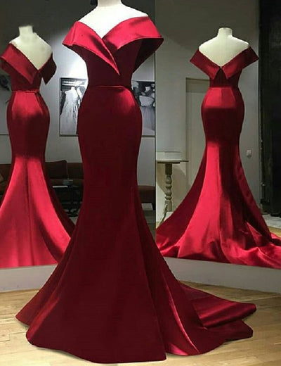 Formal Mermaid Off the Shoulder Burgundy Satin Long Evening Prom Dress