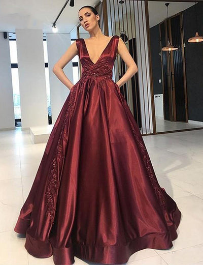 Charming A Line V Neck Sleeveless Burgundy Long Evening Dress with Appliques