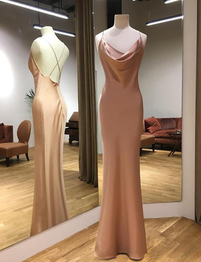 Sexy Sheath Spaghetti Straps Champagne Long Evening Dress