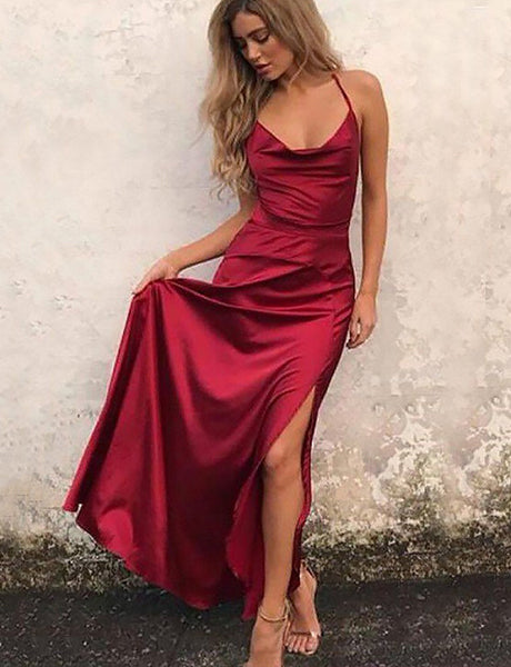 A-Line Cowl Neck Red Prom Dress with Slit Simple Party Dress