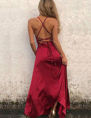 A-line Spaghetti Straps Red Prom Dress With Slit